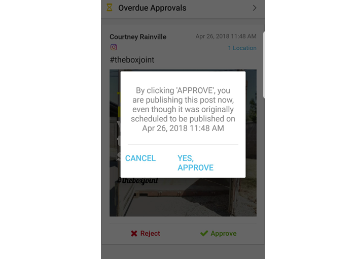 Approval Confirmation for Past Due Posts