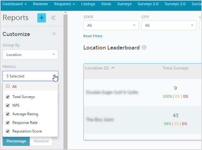 Remove Metrics from the Location Leaderboard for Surveys