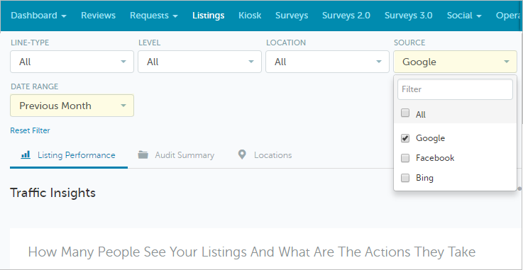 New Filters for Listings Performance