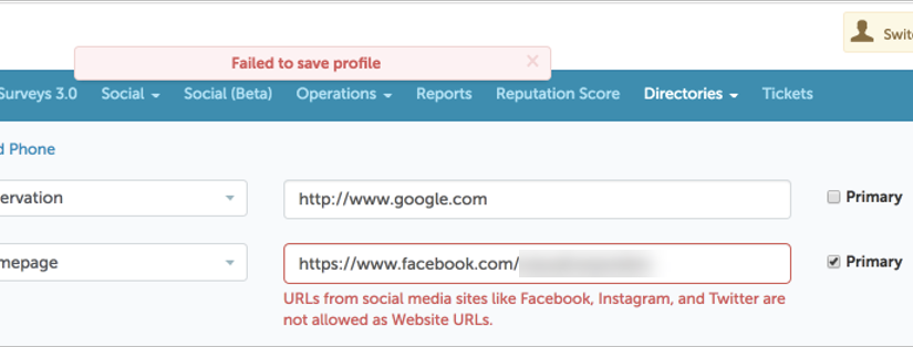 Data Validation for Web URL Profile Fields