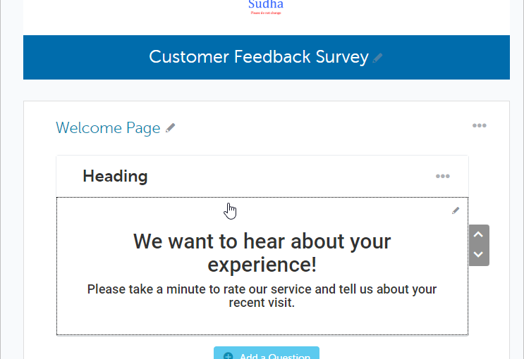 Dedicated Welcome Page for Surveys