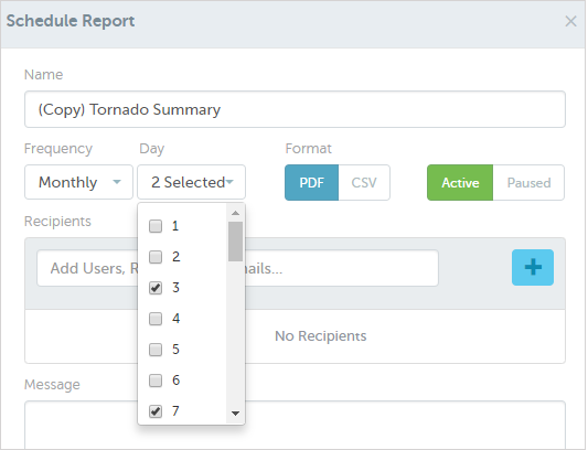 Monthly Report Scheduling by Day