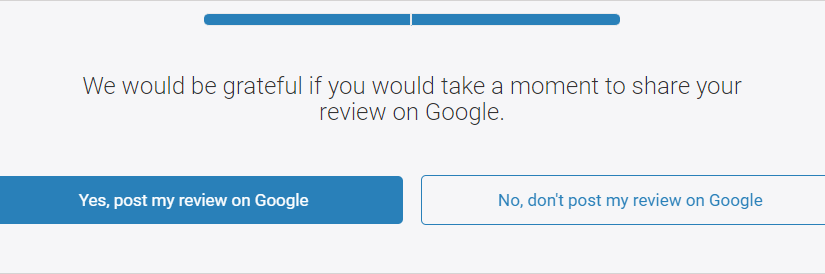 Intermediate Page for Survey-Review Requests (Google)