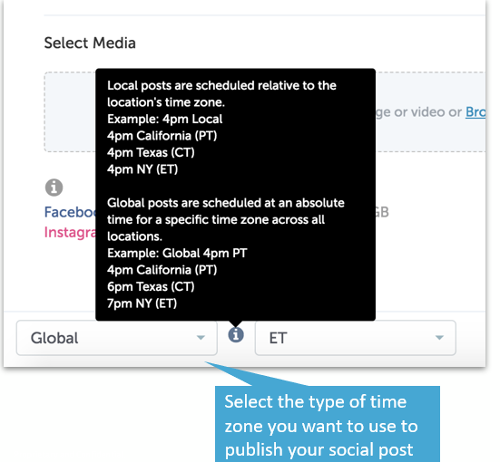 Time Zone Selection in Social Publisher