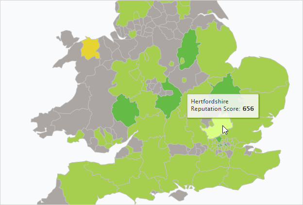 Boroughs on UK Dashboard Map