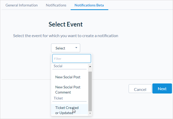 User-Level Notifications for Actions